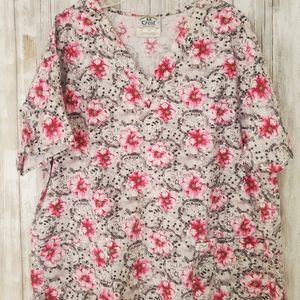 Floral Scrub Nursing Top
